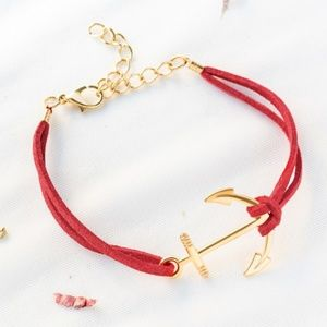 Jewelry - NEW Red Anchor And Chain Detail Bracelet